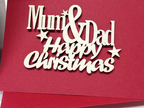 Happy Christmas Mum & Dad Personalised keepsake card