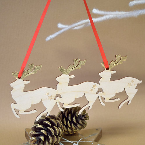 Trio of Reindeer With Gold Antlers