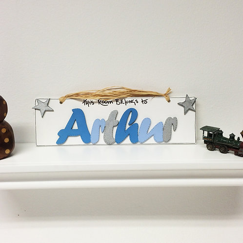 Personalised Name Plaque (Blues and Silver)