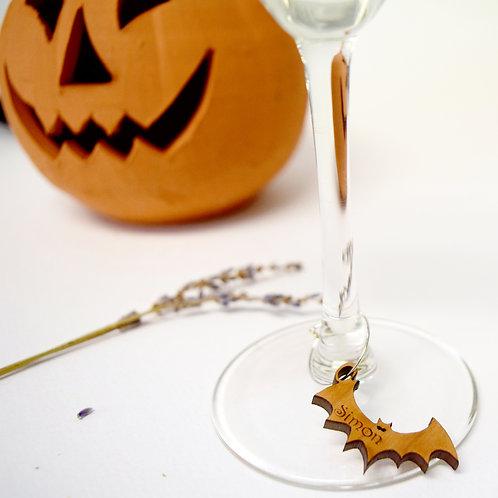 Halloween|Bat|Personalised|Wine|Glass|Charms