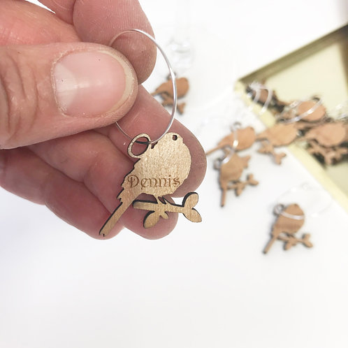 Personalised wedding wine glass charms