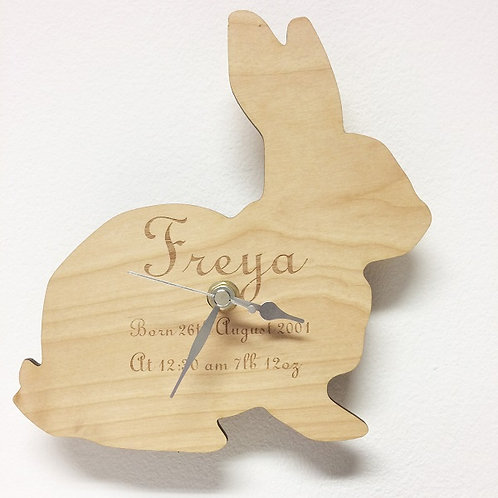 Personalised Wooden Bunny Rabbit Clock