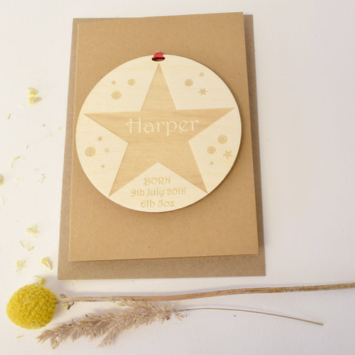 Personalised Birth Announcement Star Motif Card