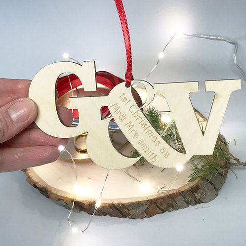 Keepsake Wooden Christmas Decoration For Couples 1st Christmas