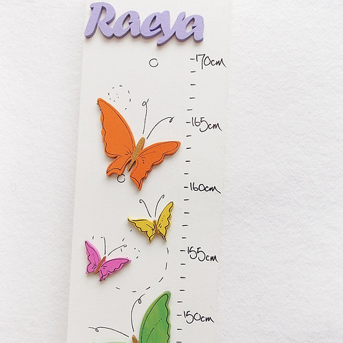 Personalised Multicoloured Butterfly Height Chart