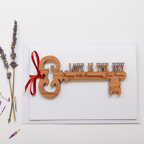 Love is the key 5th wooden anniversary gift