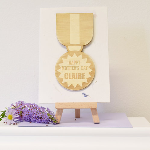 Personalised Medal Motif Mother's Day Card