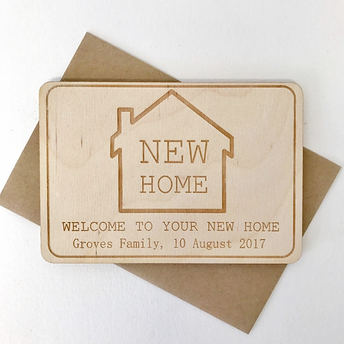 Personalised New Home Wooden Postcard
