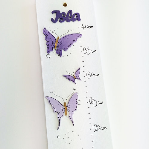 Personalised Purple Butterflies Height Chart
