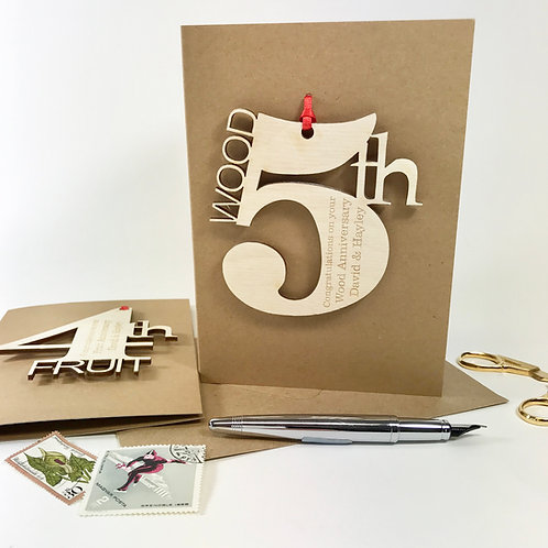 5th Wooden Wedding Meaning Card