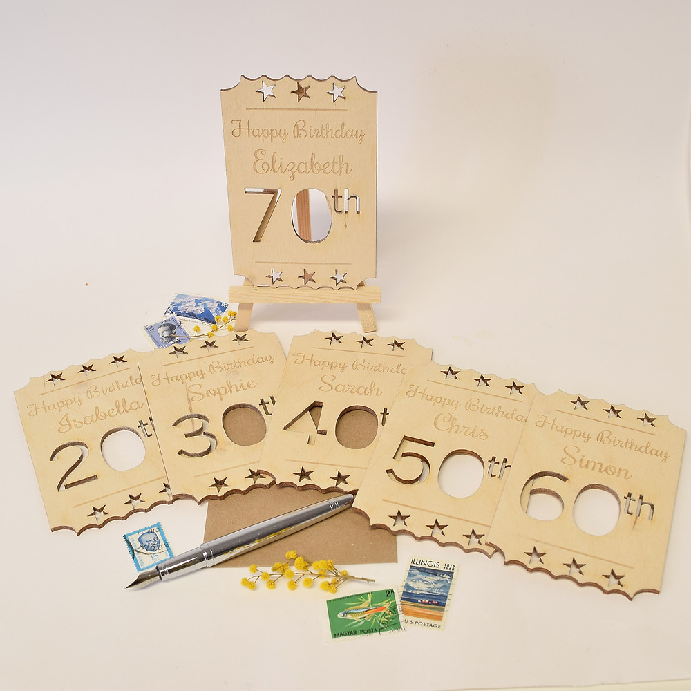 personalised birthday wooden cards