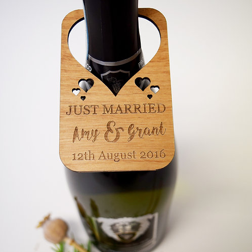 Just married personalised wine bottle label
