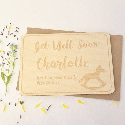 Rockinghorse personalisedGet Well Soon Wooden Postcard