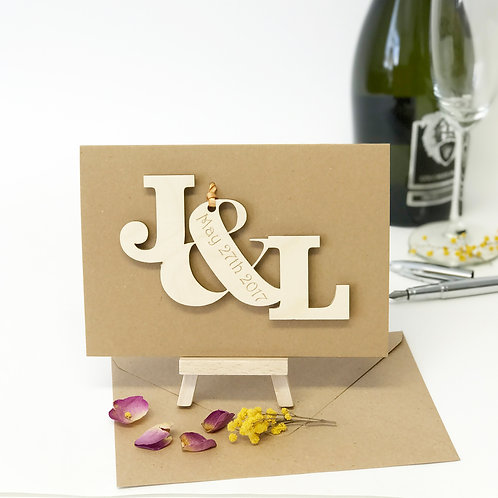 Typography wooden 5th anniversary cards.