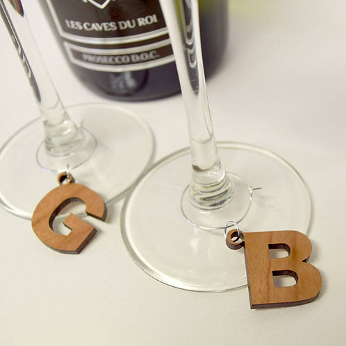 5 Wooden Initial letter Wine Glass Charms