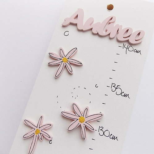 Personalised Pink Daisies Height Chart