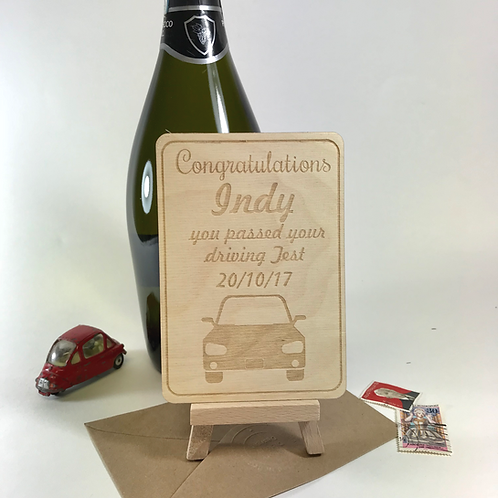 Personalised Driving Test Congratulations Car Wooden Postcard