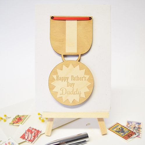 Father's Day Medal Wooden Motif