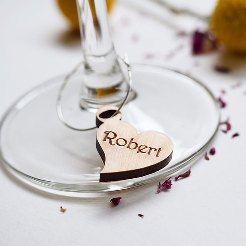 5 Heart Personalised Wine Glass Charms