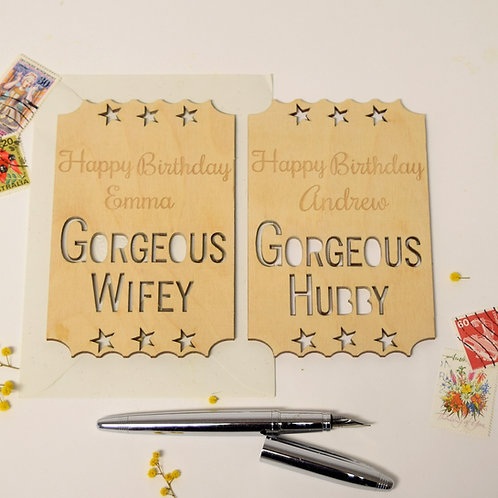 Modern Personalised Birthday Cards For Husbands & Wives