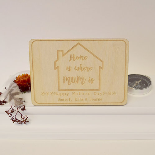 Personalised 'Home is Where Mum is' Wooden Postcard