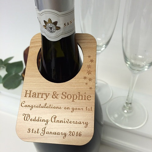 1st wedding anniversary personalised wine bottle label