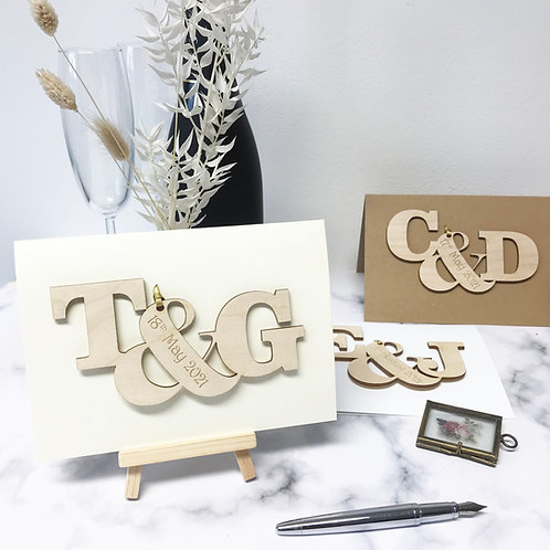 Personalised Entwined Letters Engagement Card
