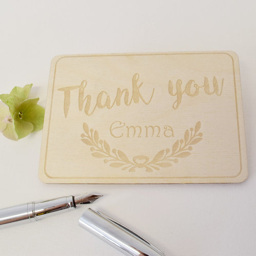 Personalised Thank You Wooden Postcard
