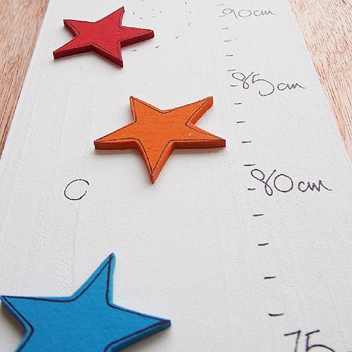 Personalised Multicoloured Star Height Chart