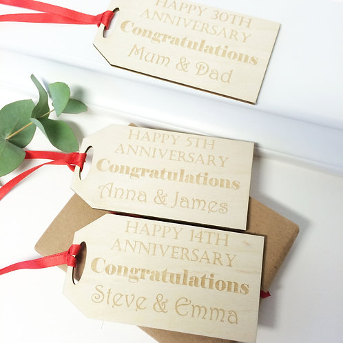 Personalised Oversized Anniversary Parcel Gift Tag