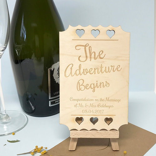 Wooden Wedding card The Adventure Begins