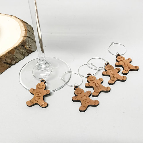 Personalised Christmas Gingerbread man Wine Glass Charms