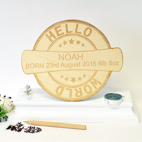 Personalised New Baby 'Hello World' Plaque