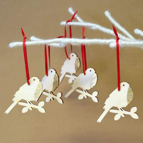 Gold Dipped Robin Christmas Decorations - Pack of 5