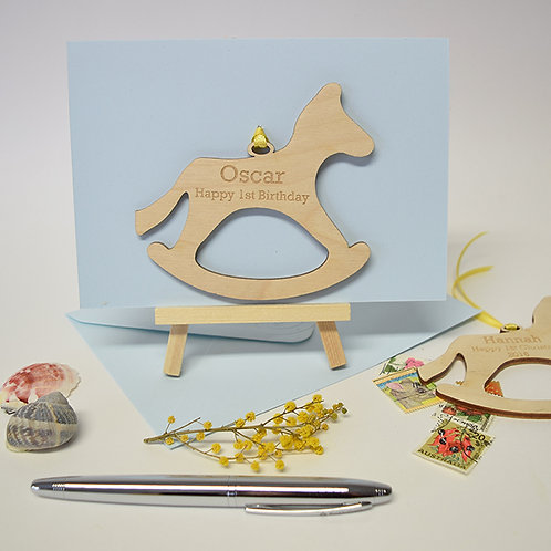 Wooden Rocking Horse logo of Rockinghorse Personalised 1st Brithday Card