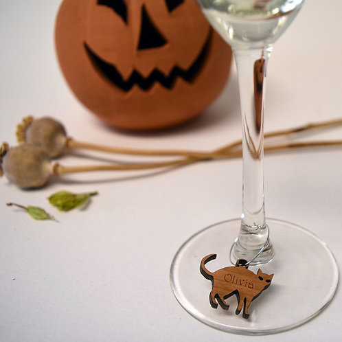 Personalised|Halloween|party|wine|glass|charms