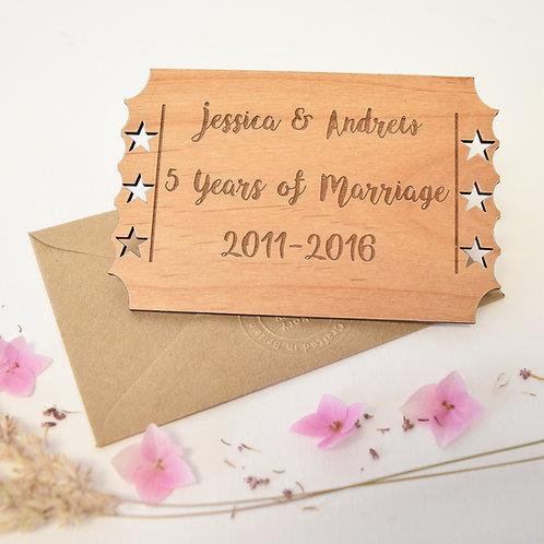 5 Years Of Marriage Wooden Keepsake Card