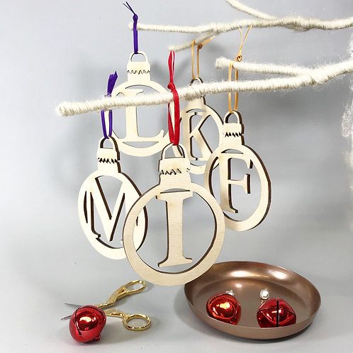 Initial Letter Wooden Bauble Style Decoration