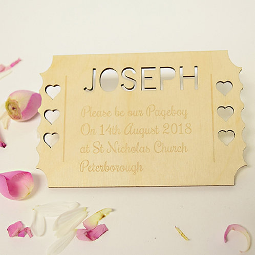 Personalised Pageboy Invitation Ticket Keepsake