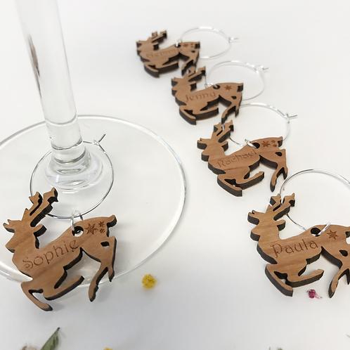 Personalised Christmas Wine Glass Charms Reindeer's