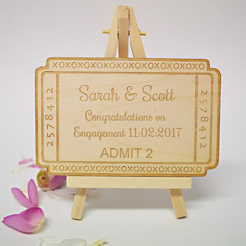 Personalised Congratulations on Your Engagement Ticket Keepsake