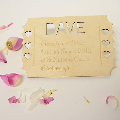 Personalised Keepsake wedding Invitations For Ushers