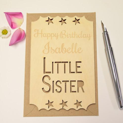 Personalised Little Sister Birthday Keepsake Ticket Personalised