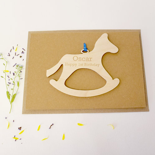 Wooden Rockinghorse 1st Birthday Card