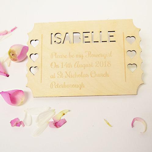 Personalised Flowergirl Invitation Ticket Keepsake