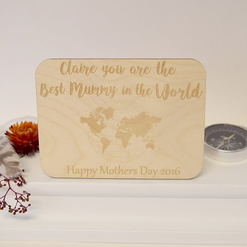 Personalised Best Mum Wooden Postcard