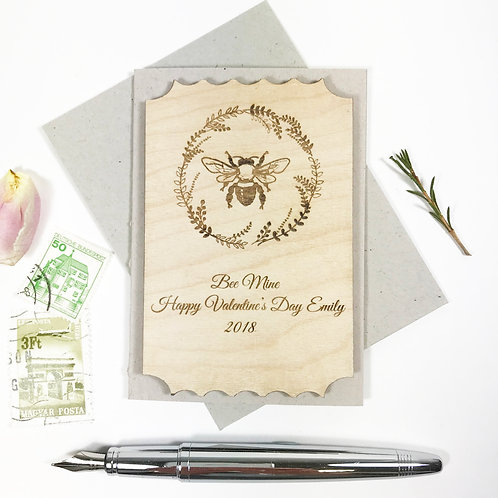 Personalised Bee Engraved Wooden Keepsake Valentines Card