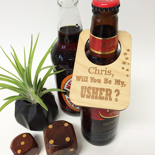 Will you be my usher personalised wine bottle label