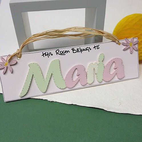 Personalised Name Plaque (Mint, Pink, White)