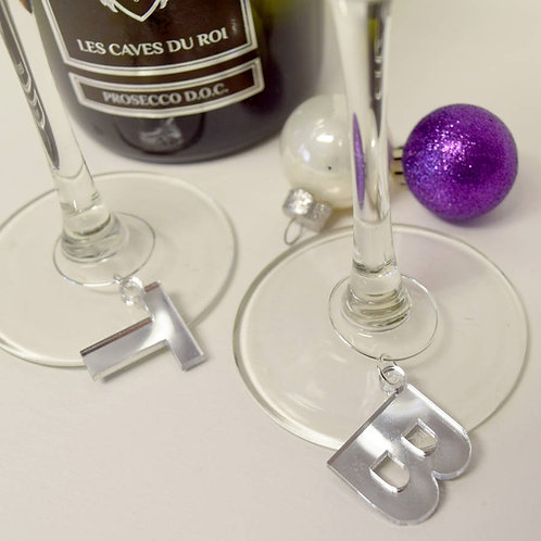 Perspex|personalised|initial|letter|wine|glass|charms